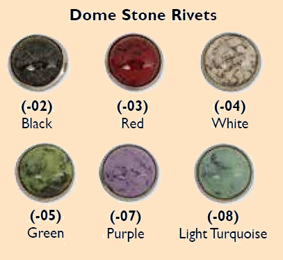 synthetic dome stone rivets