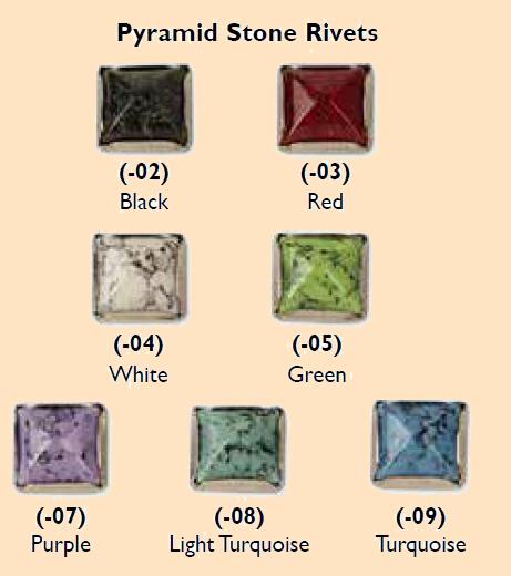 synthetic pyramid stone rivets