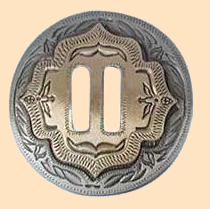 2 tone slotted concho, conchos, leathercraft conchos