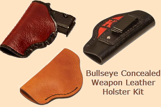 bullseye concealed weapon leather holster kit - med-large semi-automatic