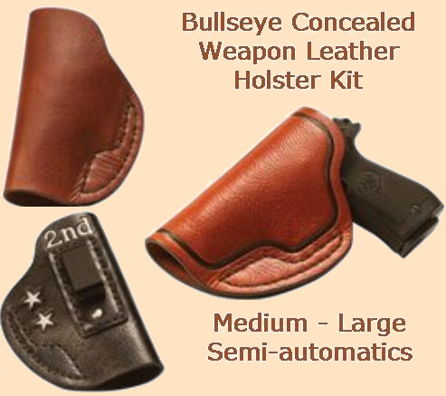 bullseye concealed weapon leather holster kit - med-large auto