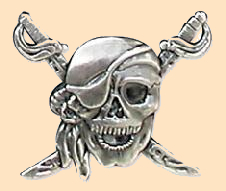 pirate skull concho, screwback concho