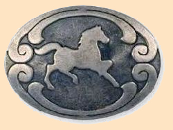 horse stamped steel rivetback concho