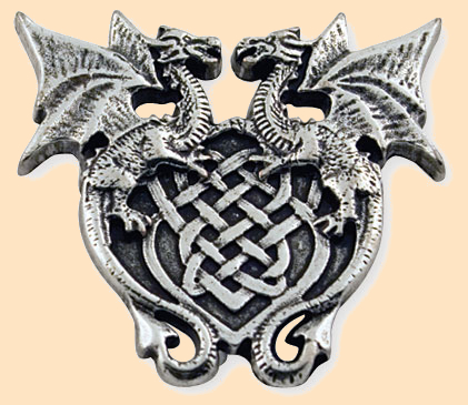 winged dragon crest leather concho