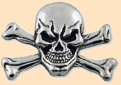skull crossbones concho screwback