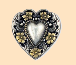 floral heart concho