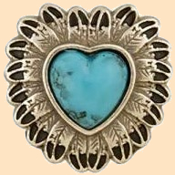 faux turquoise feather heart concho
