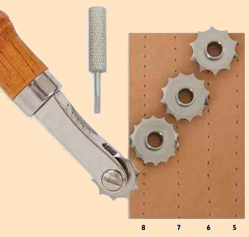 Overstitch Wheel System, stitch pattern, leather hand tool