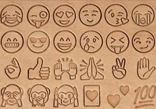 emoji leather stamp set