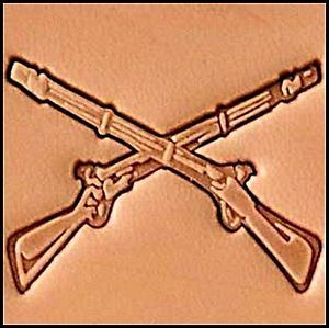 crossed rifle 3d stamp, leather stamp, leathercraft, leatherwork, leathercraft supplies