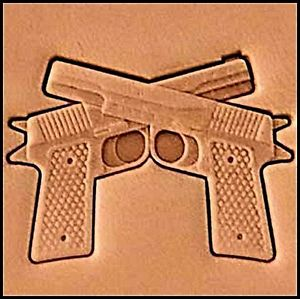 crossed pistols 3d stamp, leather stamp, leathercraft, leatherwork, leathercraft supplies