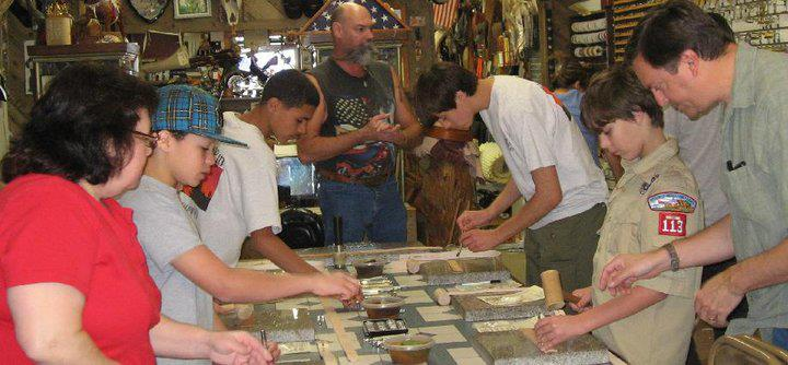 scout leathercraft merit badge, leathercraft class,